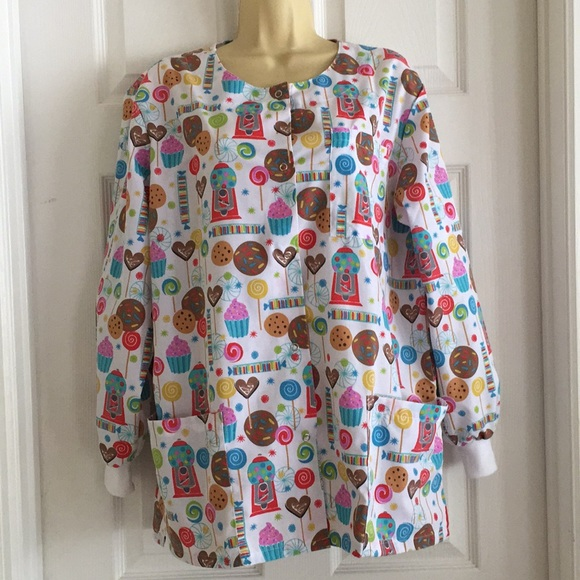 Western Tops - Long Sleeve Assorted Candies Scrub Top  SMALL